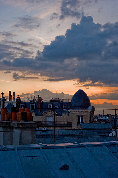 Sunset Over Paris Roofs